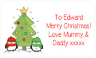PERSONALISED STICKERS CHRISTMAS XMAS PRESENT TAG LABEL XMAS PARTY BAGS PENGUIN