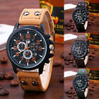 Fashion Men's Leather Military Alloy Analog Quartz Wrist Watch Business Watches image