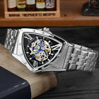 Men Mechanical Watch Skeleton Triangle Dial Automatic Luxury Steel Case Digital