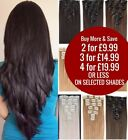 Real Natural Full Head Clip in on Hair Extensions Fake Remy Black Brown Red