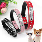 Rhinestone Personalised Dog Collar Soft Leather Custom Engraved ID Name Collar