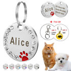 Bling Rhinestone Dog Tag Personalised Puppy Kitten Tags ID Nameplate Engraved