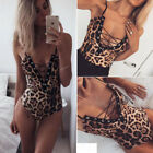 One-Piece Womens Swimsuit Leopard Bikini Push-up Bathing Suit Swimwear Monokini