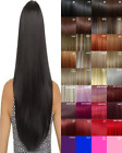 Hair Extensions Clip in Human Feel Dark Brown Light Blonde Copper Plum Burgundy