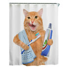 "US Fabric Bathroom Shower Curtain Set 3D Printed Waterproof with Hooks 71""x71"""