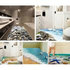 3D Realistic Bathroom Shower Floor Wall Sticker Sea Printed Decal Home Art Decor