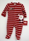Little Me Red Footed 1st Christmas Outfit Red white Striped Velour Santa Ho Ho