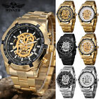 Mens Stainless Steel Steampunk Skull Skeleton Automatic Mechanical Wrist Watch image