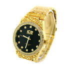 Mens 14K Gold Nugget Watch Hip Hop Metal Band Wrist Watch image