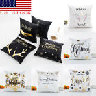 US Stock 45*45cm Xmas Cotton Pillow Case Linen Cushion Cover Home Decoration image