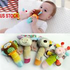 New Boy Girls Newborn Baby Soft Sound Animal Plush Handbells Squeeze Rattle Toy