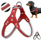 Reflective Dog Harness With Rhinestone Design Faux Leather Pin Buckle Close Type