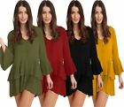 Ladies Front Button Ruffle Frill Pleated Dress Womens Long Sleeve Mini Dress