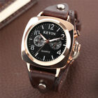 KEVIN Military Watch For Men Quartz Analog Watches Leather Strap Sport Army image