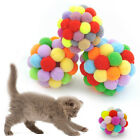 Rainbow Cat Play Balls Funny Bells Activity Pet Cat Kitten Soft Cute Toys 4Sizes
