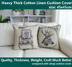 "18"" French Country Vintage Deer Chair Cotton Linen Throw Pillow Cushion Cover"