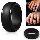 Silicone Wedding Ring Men Black Rubber Band Flexible Comfortable Lifestyle