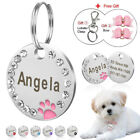 Personalised Pink Dog ID Tags With Crystal Bling for Small Dogs Cats Chihuahua
