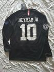 Neymar Jr and Mbappe PSG Jordan 2018/19 PSG Third Black LONG Sleeve Jersey