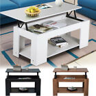 Modern Lift Up Top Coffee Table With Storage & Shelf - Teak White Black Home New