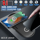 QC 3.0 Charger Qi Wireless Dual Charging Dock Station For iPhone XS For Samsung