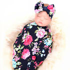 Newborn Baby Girl Receiving Swaddle Blanket Set Headband Bow Flowers Floral Cute