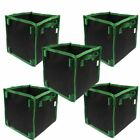 New 5pcs Green Hand Planting Bags Fabric Grow Bag Garden Square Plant Container