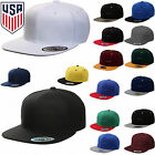 Внешний вид - Baseball Cap Plain Snapback Adjustable One Size Trucker Hat New Flat Bill Black