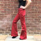 Red Flared Jeans Retro Wide Bellbottom Flares Y2K 90s 00s Style