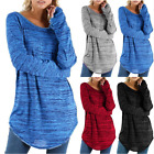 Womens Casual T-Shirt Long Sleeve O Neck Stretch Tops Basic Tee Pullover Blouse