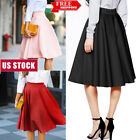 Women Flared Knee Length Dress Swing Skater Skirt Lady Midi Office Skirts S-XL