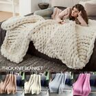 Winter Warm Chunky Knit Blanket Thick Yarn Merino Hand Woven Bulky Knitted Throw image