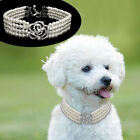 Elegant Fancy Jewelry Pearls Dog Necklace Dog Pearl Collars Crystal Rose