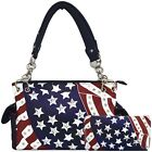 American Flag Stars and Stripes Concealed Carry Purse Women Handbag Wallet