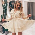 Women Dress Summer Mini Sexy Long Sleeves Fashion Casual Solid Patterned Pleated