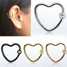 1-4PC 16G Heart Ring Crystal Steel Bendable Helix Cartilage Tragus Ear Piercing