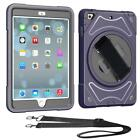 Rotating Hybrid Shockproof Stand Case +Shoulder/Hand Strap For iPad Pro Air Mini