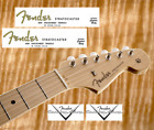 2 x Decalcomania Decal Fender Stratocaster Chitarra Guitar GoldGrey Serial Numb