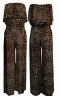 Ladies Wide Leg Palazzo Frill Bandeau Jumpsuit Womens Brown Leopard Jumpsuit