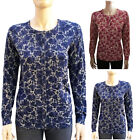 Leo & Nicole Crew Neck Long Sleeve Printed Knit Sweater Cardigan S ~ XL