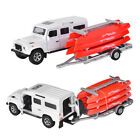 Land Rover Defender Trailer w/ Camper Animal Cage Canoes Kayak Diecast Car Model