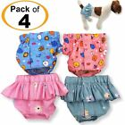 PACK of 4 Dog Female Diapers 100% COTTON Skirt and Panties For SMALL Pet Cat