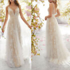 Wedding Dresses V Neck Sleeveless Backless With Applique Sweep Train Bride Gowns