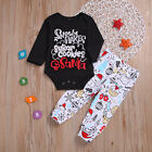 Newborn Kids Baby Grils Boys Black Long Sleeve Tops Romper & Pants Outfits Sets