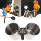 Food Water Feeding Bird Cups With Clip Stainless Steel Parrot Cage Stand PN