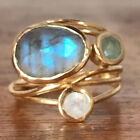 14K Unique Gold Moonstone Aqua Blue Shell Ring Wedding Jewelry Gifts Size 6-10
