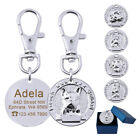 3D Dogs Head Statue Disc Engraved Personalised Dog Tag Stainless Steel Pet Tags