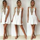 Women Solid Loose T-Shirt Dress Casual Swing Sundress Sleeveless Pocket