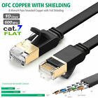 Cat7 RJ45 Ethernet Flat Patch Network LAN Shielded Internet Cable 10Gbps 6-100ft