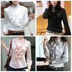 New Lady Silk-like Long Sleeve Office Shirt Top Frill Drape Ruffle Collar Blouse